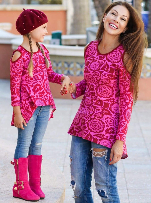Mommy & Me Pink & Wine Matching Cold Shoulder Striped Hi-Lo Elbow Patch Heart Applique Tunic - Mommy & Me Fall Tunic