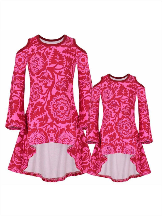 Mommy & Me Pink & Wine Matching Cold Shoulder Striped Hi-Lo Elbow Patch Heart Applique Tunic - Pink/Wine / 2T-3T - Mommy & Me Fall Tunic
