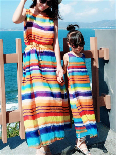 Mommy & Me Rainbow Sleeveless Chiffon Maxi Dress - Mommy and Me Spring Casual Spring Dress
