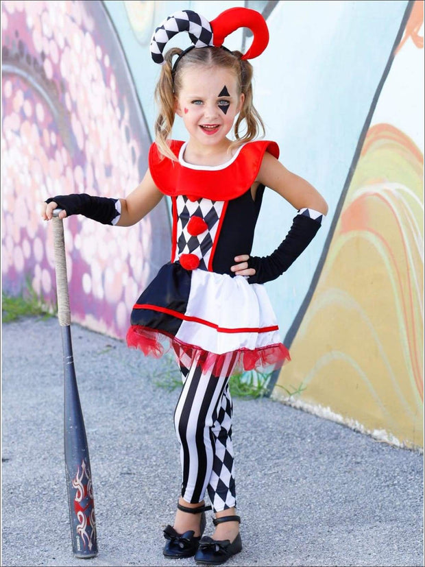 Mommy & Me Red Black and White Harley Quinn Halloween Costume - Girls Halloween Costume