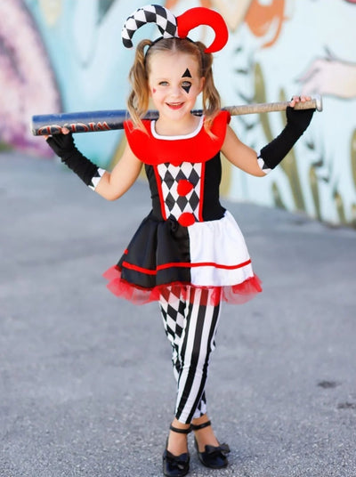 Mommy & Me Red Black and White Harley Quinn Halloween Costume - Red / 4T/5Y - Girls Halloween Costume