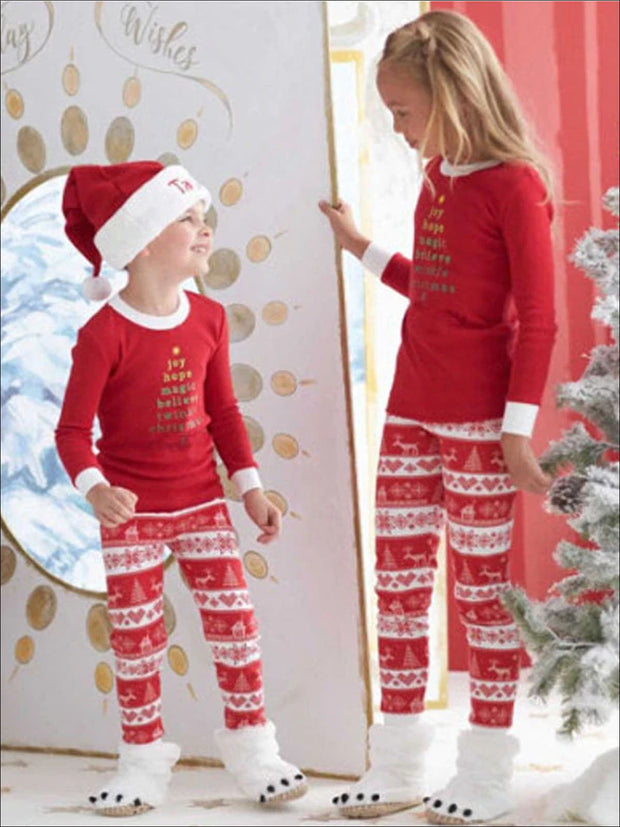 Mommy & Me Red Christmas Print Pajama Set - Mommy & Me Pajama