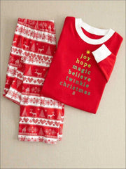 Mommy & Me Red Christmas Print Pajama Set - Red / Mom S - Mommy & Me Pajama
