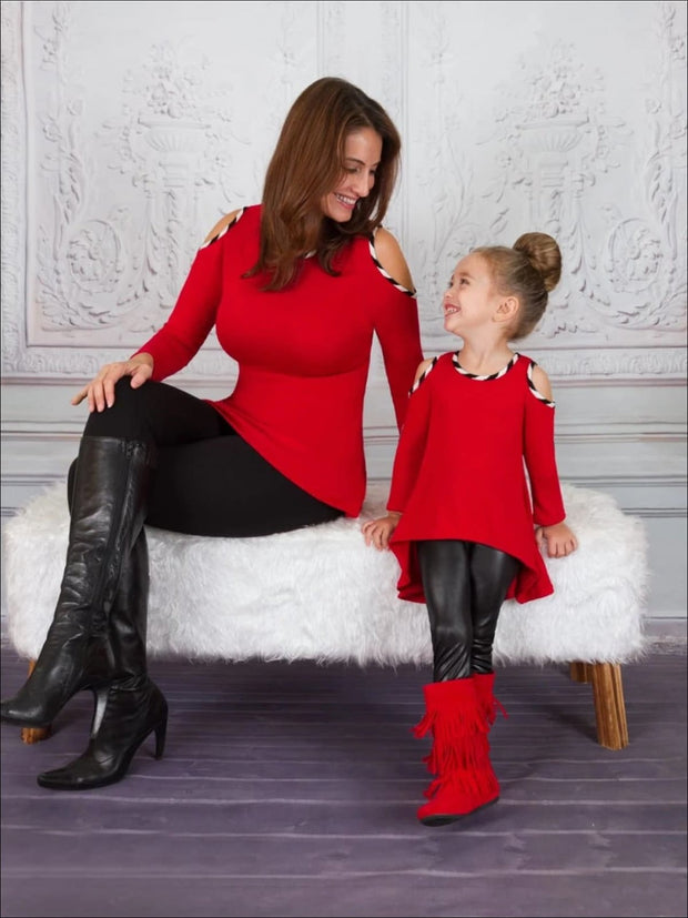 Mommy & Me Red Cold Shoulder Hi-Lo Sweater Tunic - Mommy & Me Top