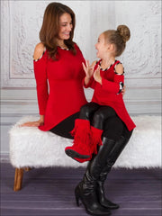 Mommy & Me Red Cold Shoulder Hi-Lo Sweater Tunic - Red / Small/Medium - Mommy & Me Top