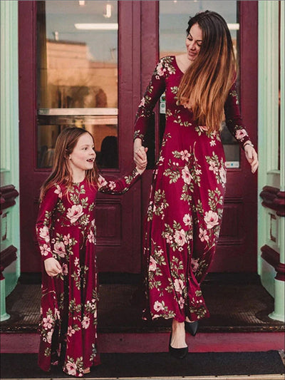 Mommy & Me Red Fall Floral Long Sleeve Maxi Dress - Red / Mom S - Fall Mommy & Me