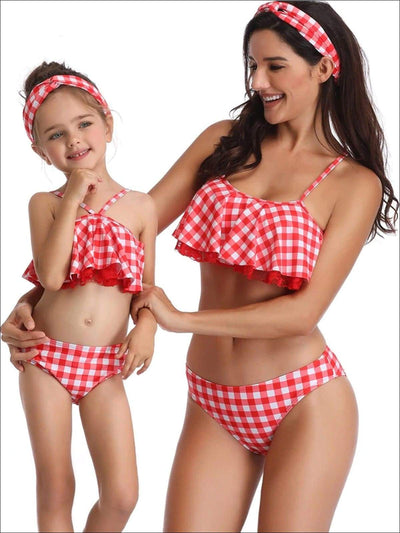 Mommy & Me Red Gingham Ruffled Lace Trimmed Two Piece Swimsuit - Red / Mom S - Mommy & Me Swimsuit