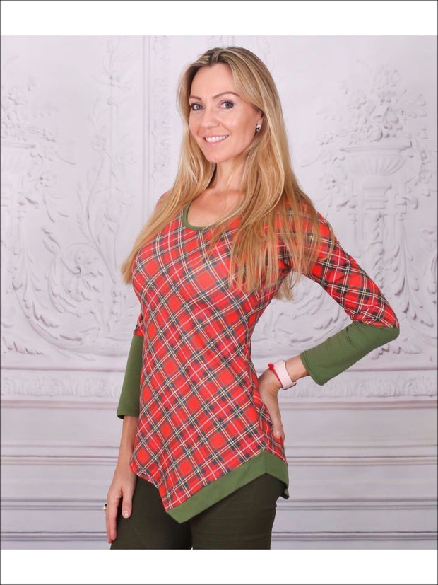 Mommy & Me Red & Green Matching Asymmetric Striped Tunic - Mommy & Me Fall Tunic