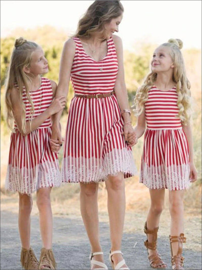 Mommy & Me Red Striped with Lace Applique Sleeveless Dress - Red / Mom S - Mommy & Me Spring Casual Dress