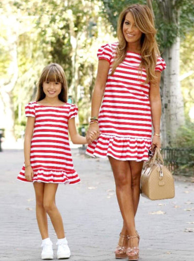 Mommy & Me Red & White Striped Ruffled Dress - Girls Spring Casual Dress