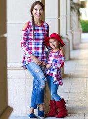 Mommy & Me Royal & Red Plaid Cold Shoulder Striped Hi-Lo Elbow Patch Tunic - Mommy & Me Fall Tunic