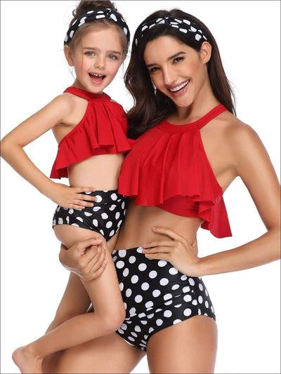 Mommy & Me Ruffle Polka Dot Two Piece Swimsuit - Red/Black / Mom S - Mommy & Me Swimsuit