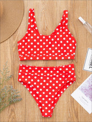 Mommy & Me Ruffled Polka Dot Two-Piece Swimsuit - Mommy & Me Swimsuit