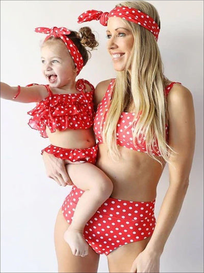 Mommy & Me Ruffled Polka Dot Two-Piece Swimsuit - Red / Mom-S - Mommy & Me Swimsuit