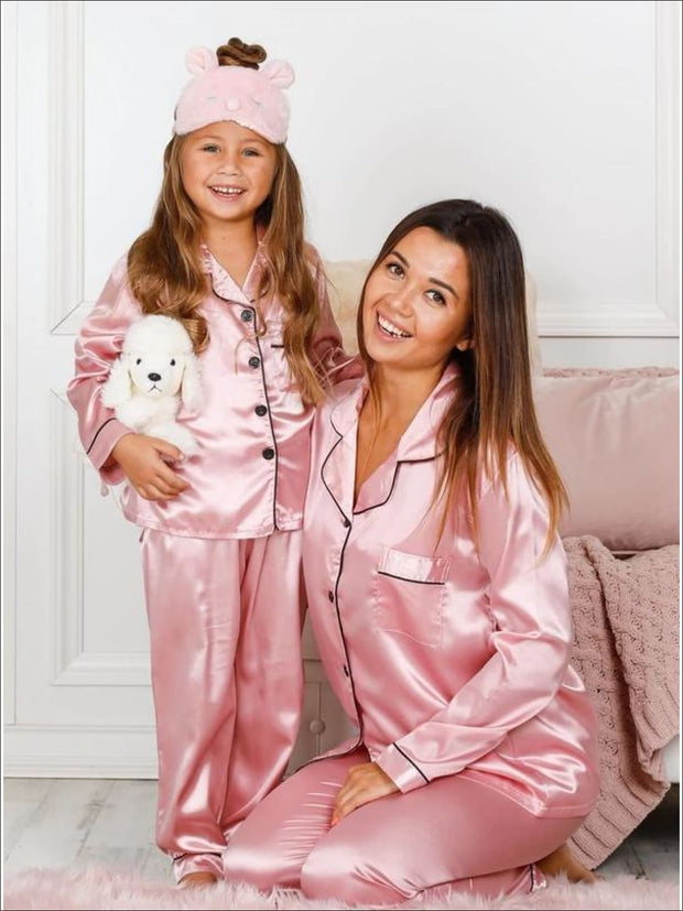 Mommy & Me Silk Long Sleeve Pajama Set - Dusty Pink / 2T/3T - Girls Pajama
