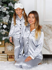 Mommy & Me Silky Long Sleeve Pajamas (Navy Pink Silver) - Silver / 12Y/14Y - Mommy & Me Pajama
