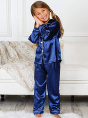 Mommy & Me Silky Long Sleeve Pajamas (Navy Pink Silver) - Mommy & Me Pajama
