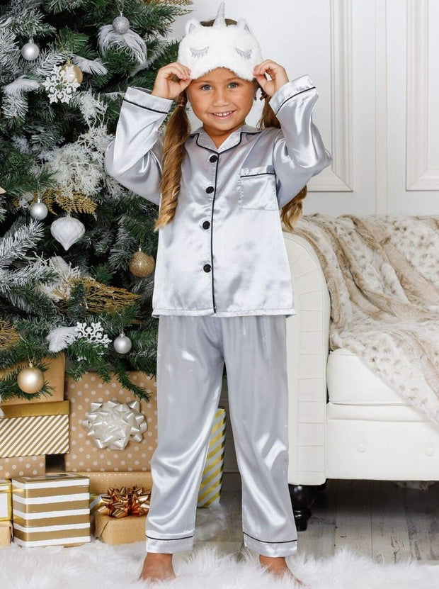 Mommy & Me Silky Long Sleeve Pajamas (Navy Pink Silver) - Silver / 3T/4T - Mommy & Me Pajama