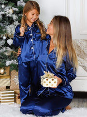 Mommy & Me Silky Long Sleeve Pajamas (Navy Pink Silver) - Blue / 12Y/14Y - Mommy & Me Pajama