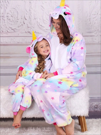 Mommy & Me Stars Unicorn Hooded Pajamas - stars unicorn / S - Girls Pajama