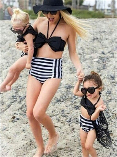 Mommy & Me Striped High Waist Two Piece Swimsuit - Mommy and Me Swimsuit