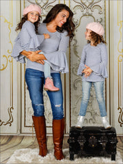 Mommy & Me Striped Long Bell Sleeve Top - Mommy & Me Fall Top