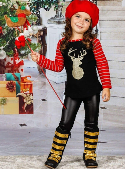 Mommy & Me Striped Long Raglan Sleeve Gold Reindeer Top - Mommy & Me Top