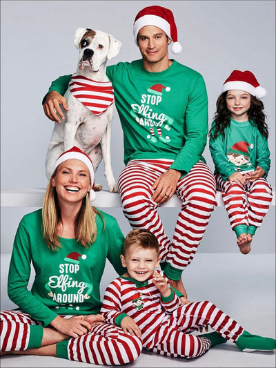 Mommy & Me Striped Stop Elfing Around Christmas Pajama Set - Mommy & Me Pajama