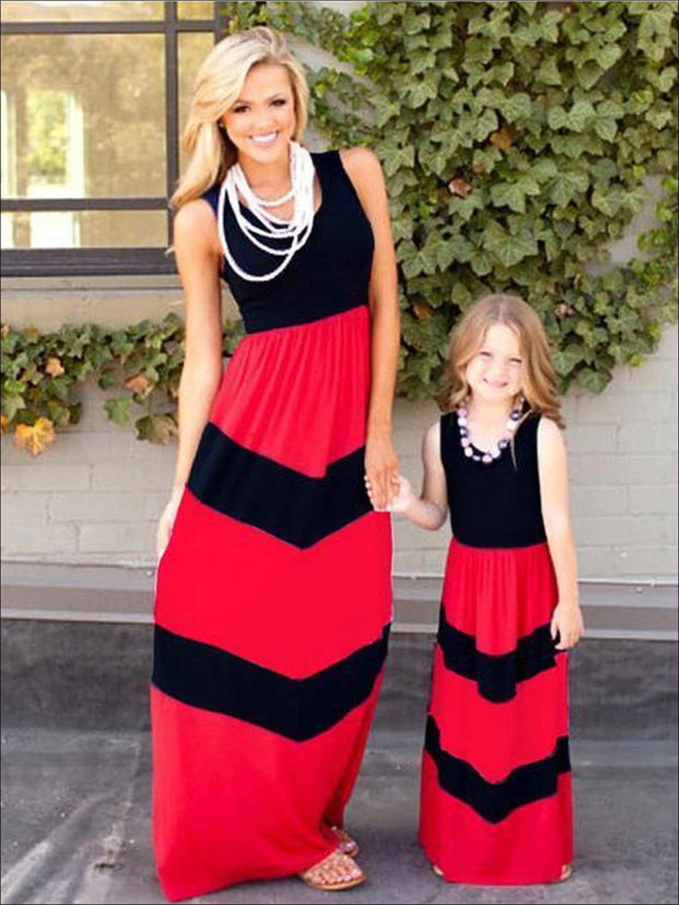 Mommy & Me Stripped Boho Halter Dress - Black / S - Mommy & Me Dress