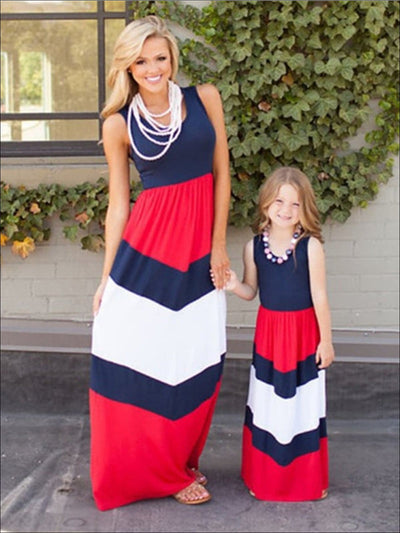 Mommy & Me Stripped Boho Halter Dress - Blue / S - Mommy & Me Dress