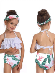 Mommy & Me Tiered Ruffle Tropical Print Two Piece Swimsuit - Mommy & Me Swimsuit