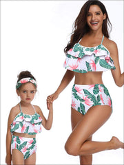 Mommy & Me Tiered Ruffle Tropical Print Two Piece Swimsuit - Tropical Print / Mom S - Mommy & Me Swimsuit