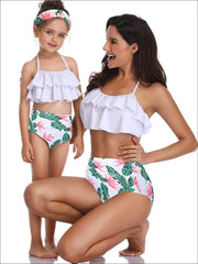 Mommy & Me Tiered Ruffle Tropical Print Two Piece Swimsuit - White Tropical Print / Mom S - Mommy & Me Swimsuit