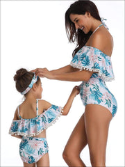 Mommy & Me Tropical Print Ruffled Off The Shoulder Two Piece Swimsuit - Mommy & Me Swimsuit