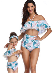 Mommy & Me Tropical Print Ruffled Off The Shoulder Two Piece Swimsuit - Tropical Print / Mom S - Mommy & Me Swimsuit