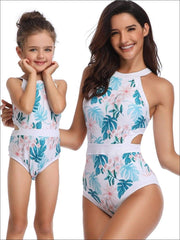 Mommy & Me Tropical Print Side Cut Halter One Piece Swimsuit - White / Mom S - Mommy & Me Swimsuit
