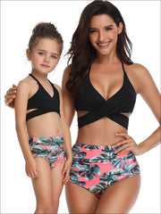 Mommy & Me Wrap Top High Waist Tropical Palm Leaf Two-Piece Swimsuit - Black / 2T/3T - Mommy & Me Swimsuit