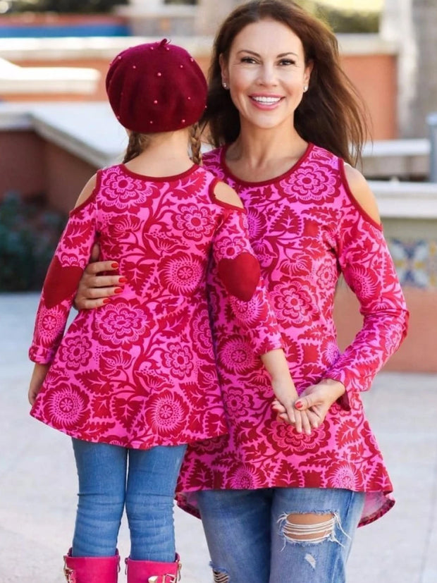 Mommy & Me Pink & Wine-Colored Cold Shoulder Striped Hi-Lo Elbow Patch Heart Applique Tunic