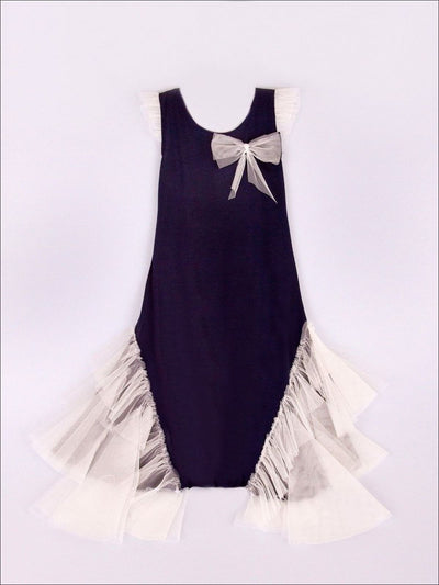 Navy Creme Dress With Mesh Ruffle Side Inserts With Flower Adornment
