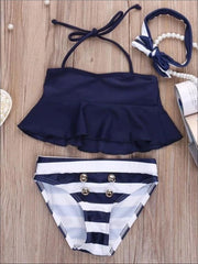 Navy Flare Tankini Two Piece with Gold Faux Button