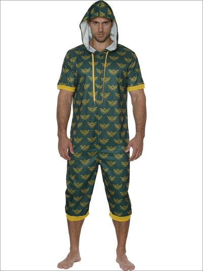 Nintendo Mens One Piece Pajama Short Sleeve Zelda Onesie - L/XL / Green
