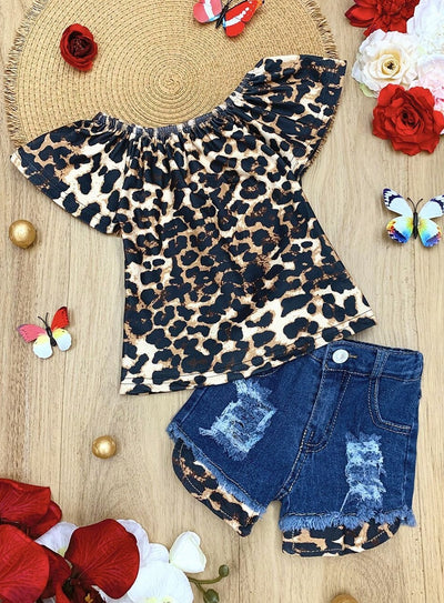 Girls Leopard Ruffled Top and Ripped Denim Shorts Set