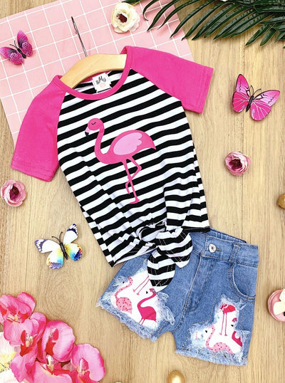 Girls Striped Flamingo Knot Top and Patched Denim Shorts Set
