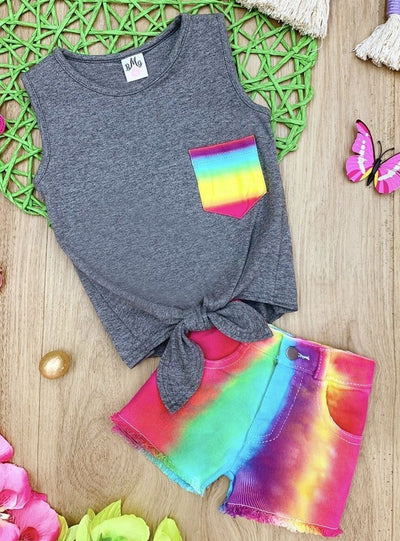 Girls Rainbow Tie Dye Pocket Knot Tank and Shorts Set