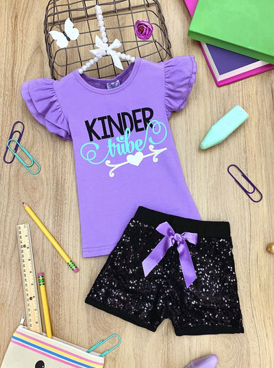 "Girls ""Kinder Tribe"" Ruffled Top and Sequin Bow Shorts Set"