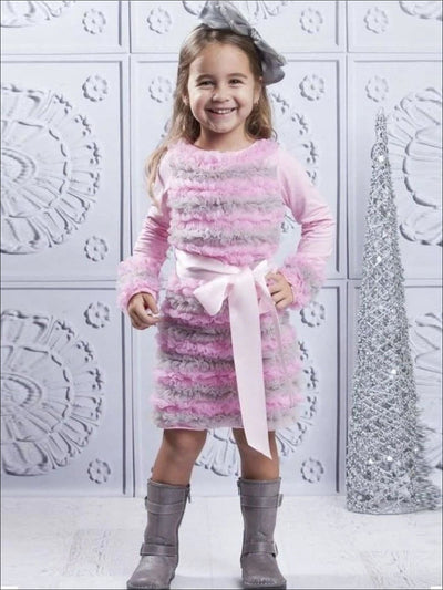 Pin/Grey Ruffled Holiday Dress SEPT13DR7PG - 3T/4T / Pink/Grey