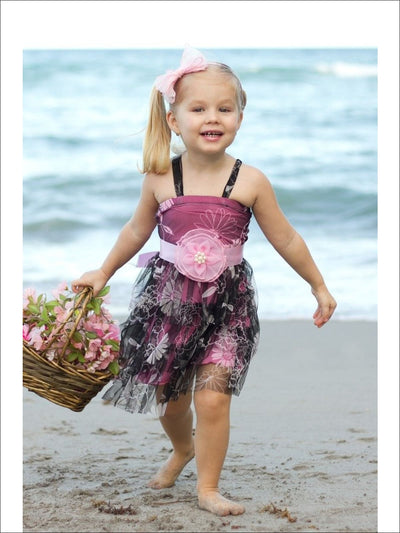 Pink & Black Floral Dress - Girls Spring Dressy Dress