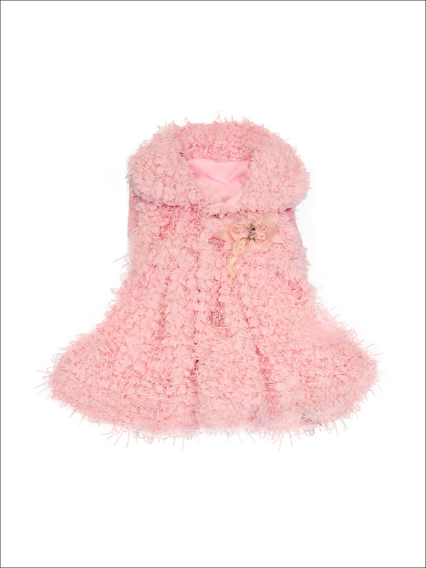 Pink Faux Fur Rose Fringe Vest - Girls Outerwear