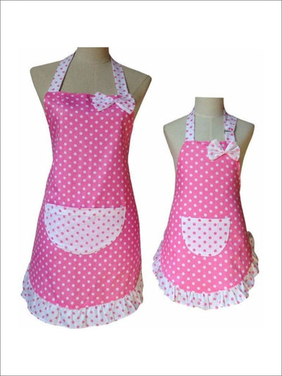 Pink Polka Dot Mommy & Me Apron Set - one size - Mommy & Me