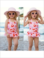 Pink Skirted & Center Ruched Ice Cream Cone Print Halter One Piece - Pink / 3T - Girls One Piece Swimsuit